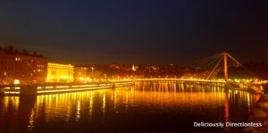 Night view of River Saone Lyon France 1