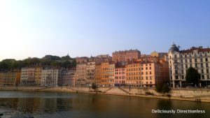Townhouses lining the Saone Lyon France