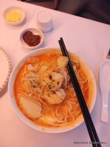 Book the chef meal, prawn chicken laksa, Singapore Airlines Business Class