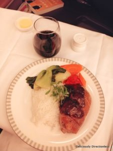 Book the chef meal, roast duck, Singapore Airlines Business Class