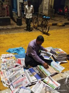 Newspaper distributor at CST
