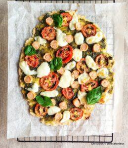Flatbread with tomato, pesto, and mozzarella