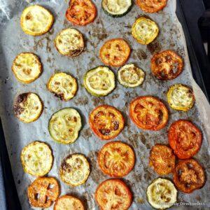 Roasted vegetables prep for flatbread