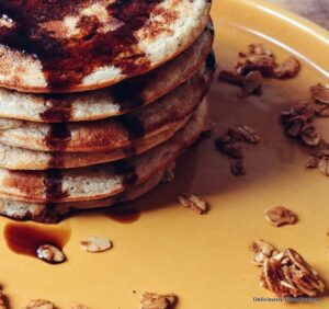 Healthy Pancakes with Oats and Banana closeup